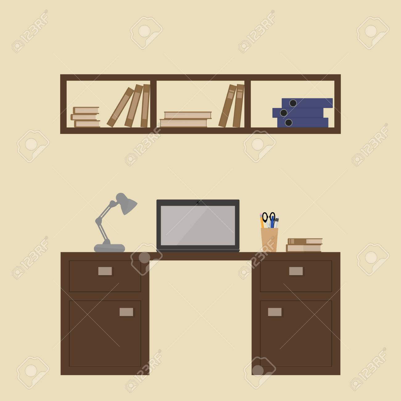 The interior of the room with a table, computer, desk lamp, bookshelf..