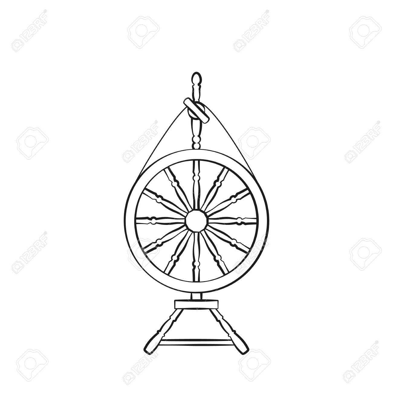An Antique Spinning Wheel Icon In The Style Of Linear Design Royalty Free Cliparts Vectors And Stock Illustration Image 105137211