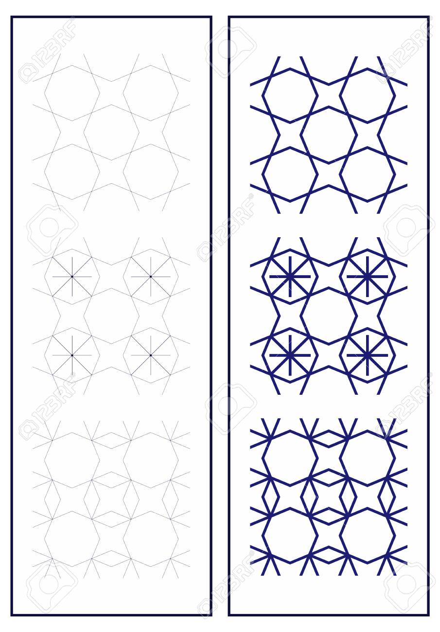 Set of seamless patterns in art deco style. Simple geometric..