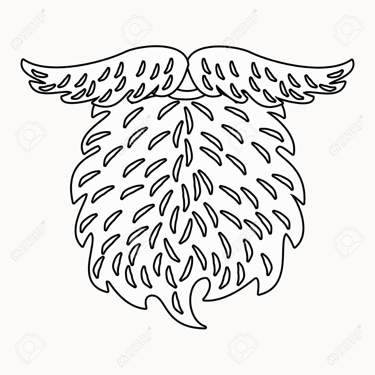 Beard And Mustache Outline Drawing. Beard Illustration For ...