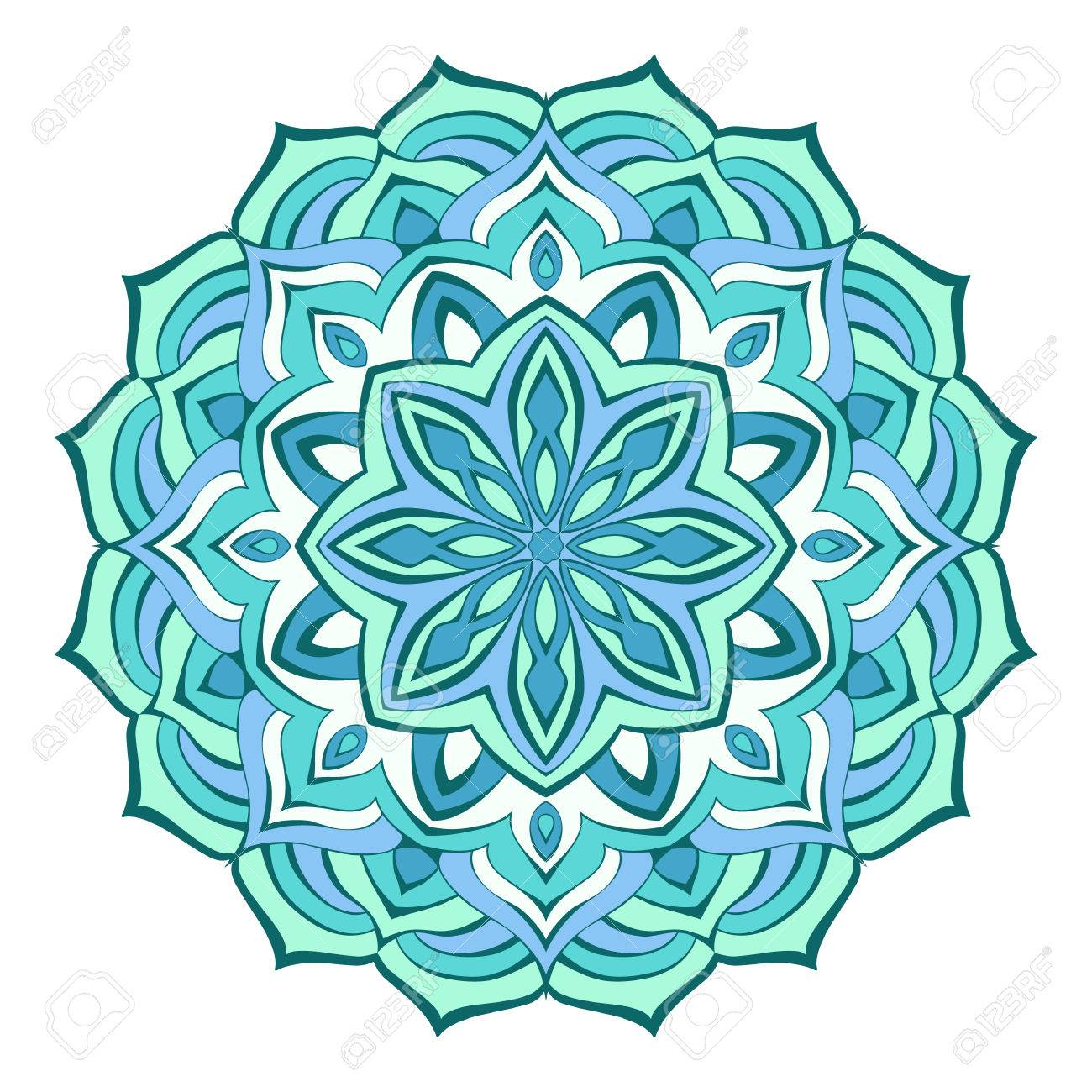 Mandala Fantasy Of Flowing Lines In A Turquoise Blue Color Scheme