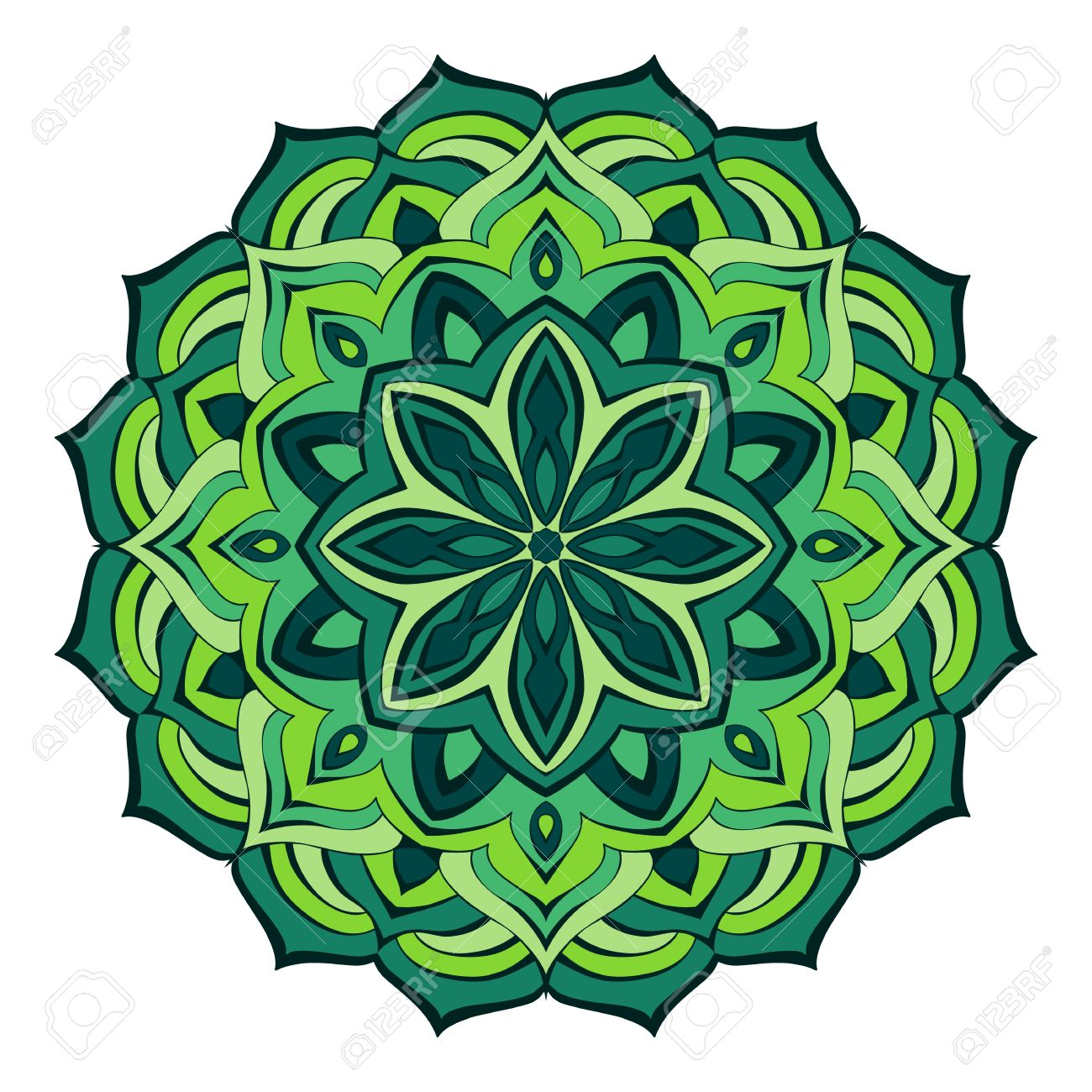 Fancy Mandala Of Flowing Lines In Green Emerald Colors Royalty Free