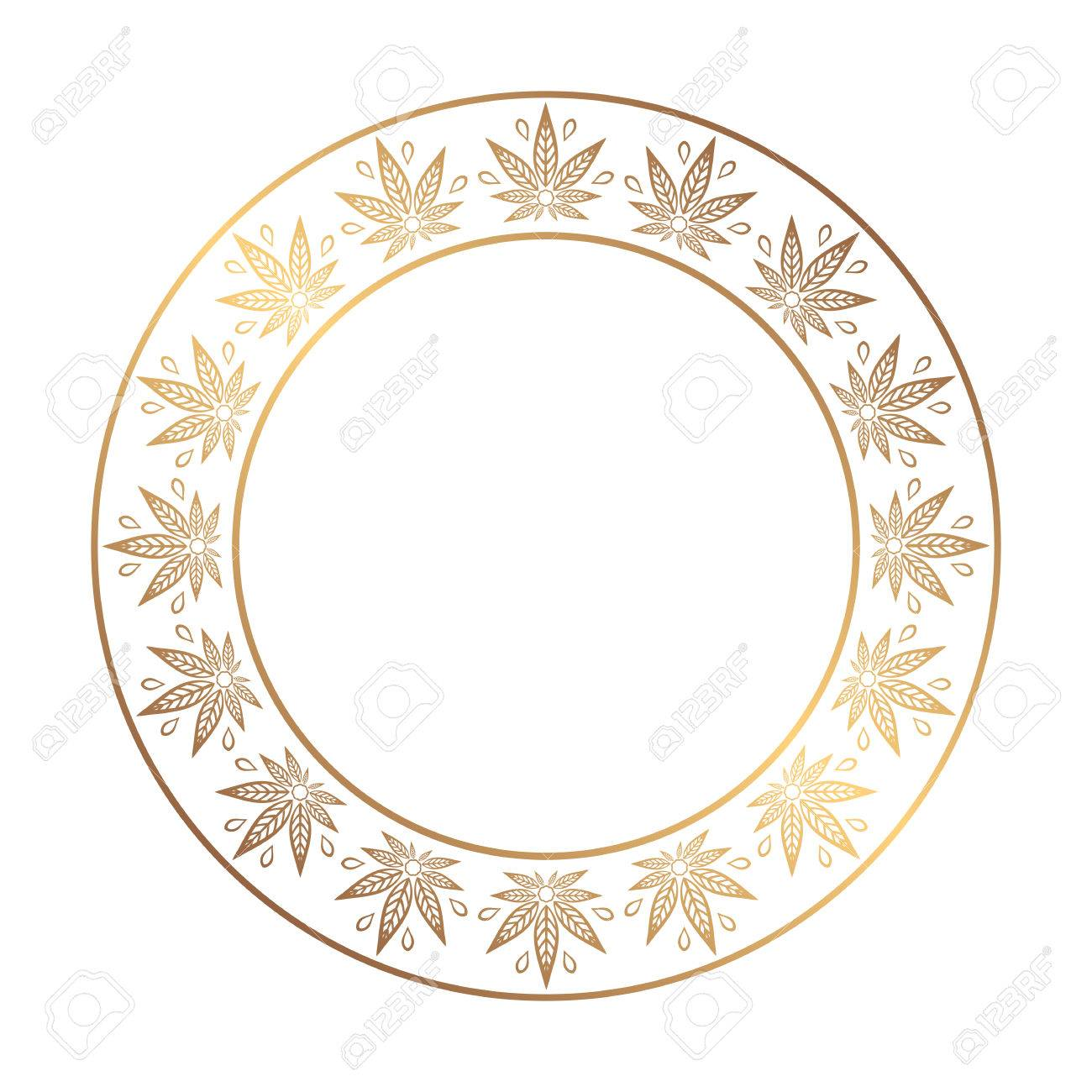 Round Gold Frame Of Cannabis. Border Of Stylized Hemp Leaf To ...
