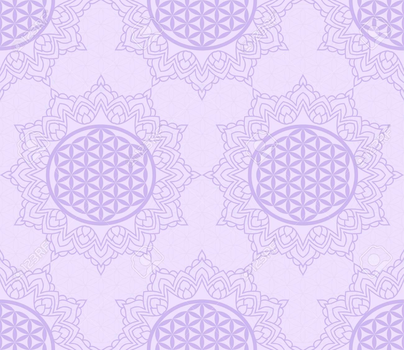 Sin Patrón Con Un Símbolo Púrpura De La Flor De La Vida En El Marco