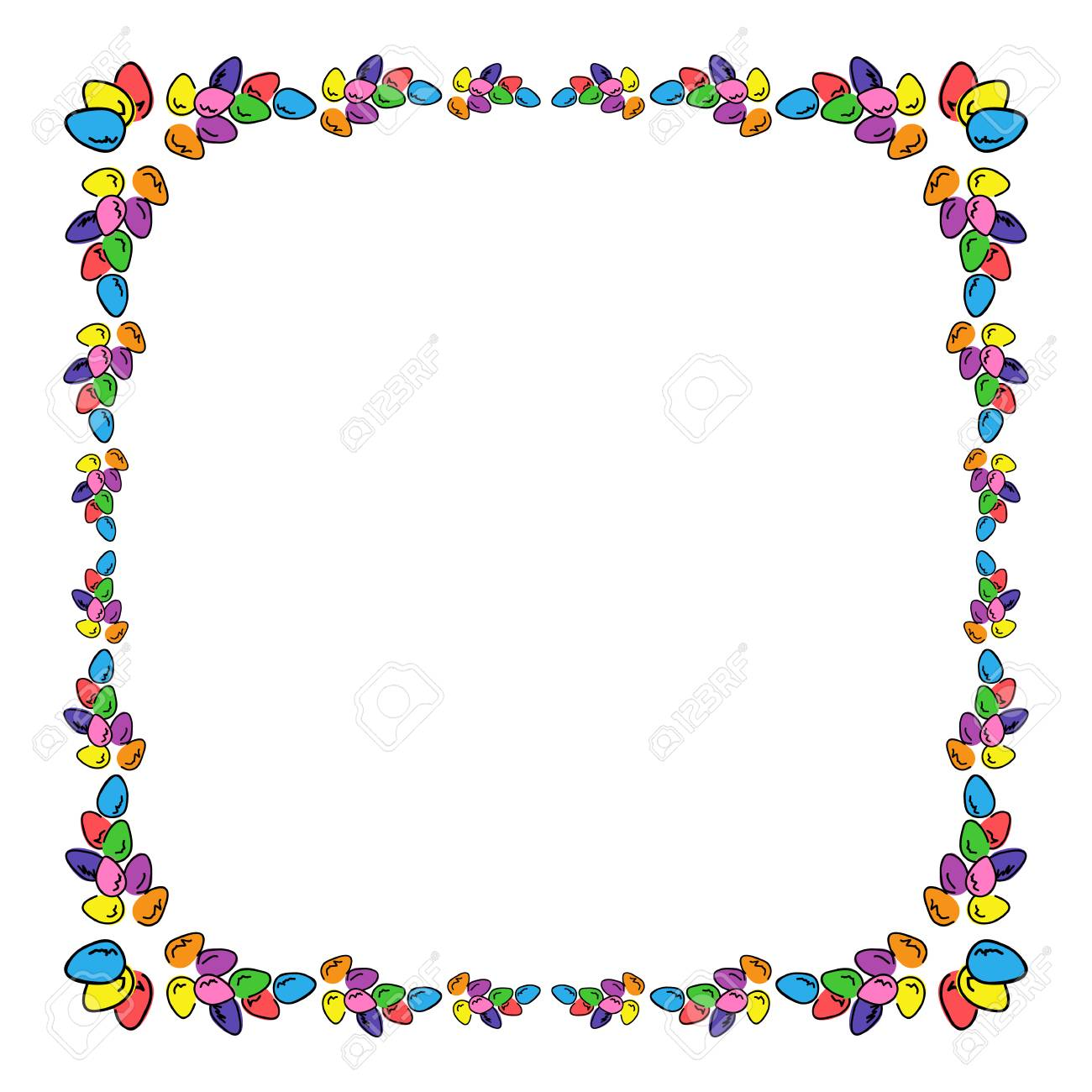 Easter Eggs Colored Square Photo Frame Multicolored Bright Border