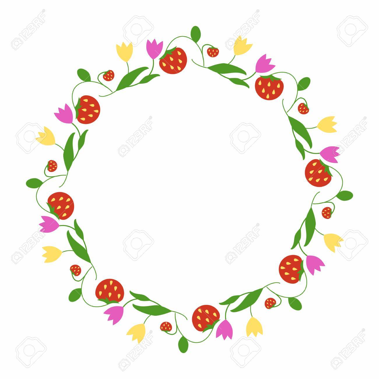 Round frame of flowers and strawberries simple spring decoration of the plant elements in a