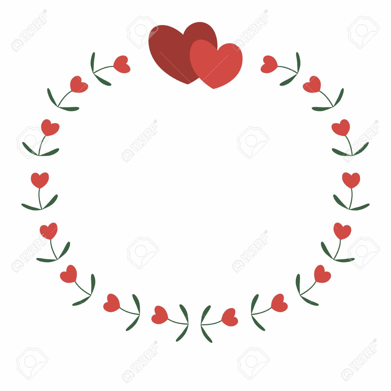 Round frame of flowers and hearts simple decor of floral elements in a flat style
