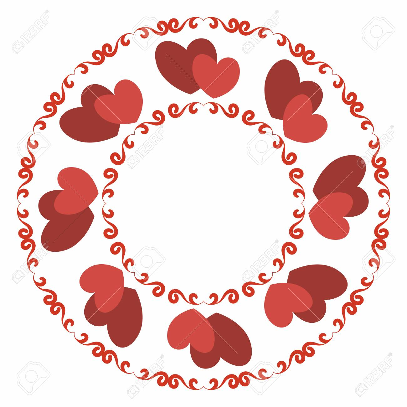 Round Frame With Stylized Red Heart And Winding Elements. Decorative ...