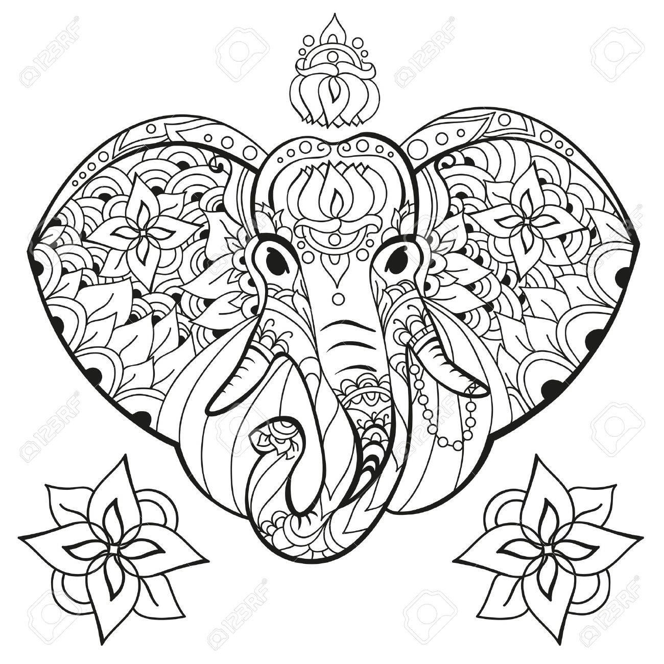 Lephant Dans Le Style De Griffonnage Coloriage Anti Stress Pour