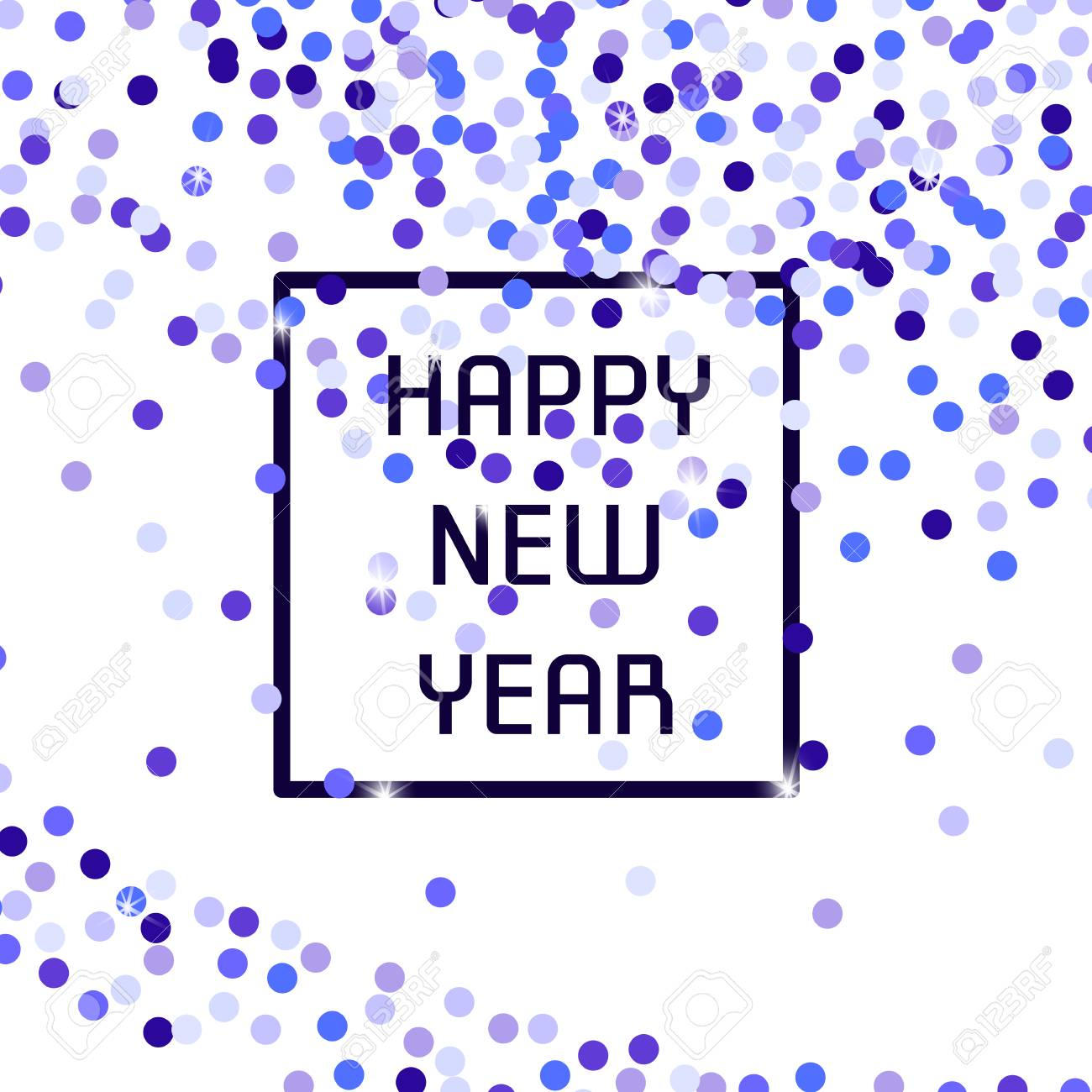 new years banner with a square frame on an abstract background of small circles a
