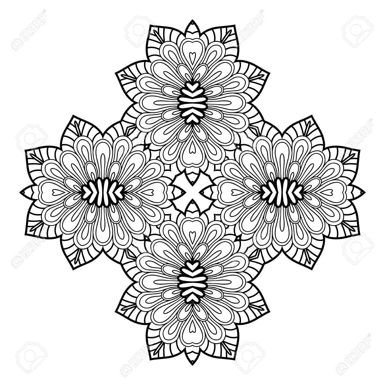 Mandala. Blanco Y Negro De Diamantes En Forma De Elemento Decorativo ...