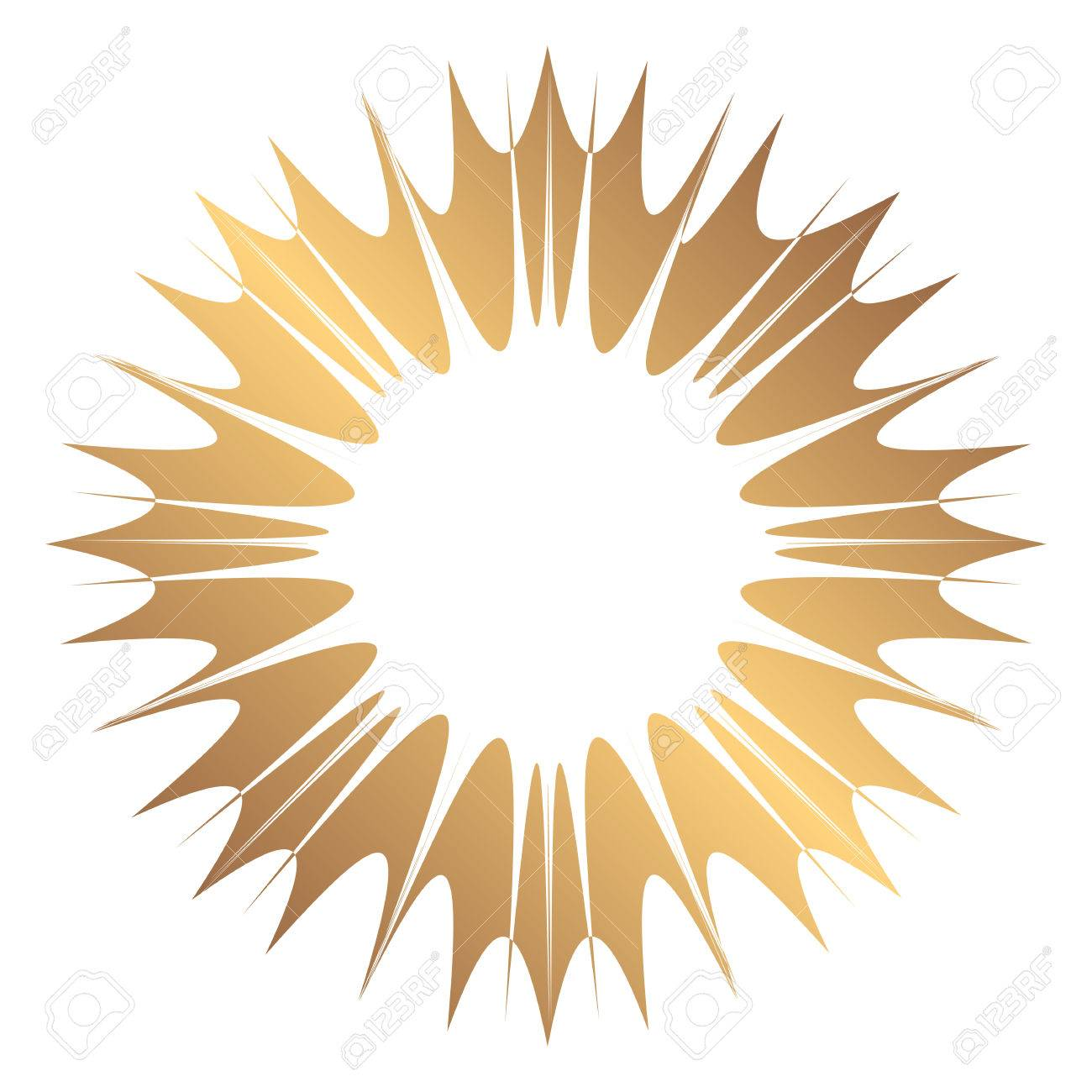 Abstract Wide Round Gold Frame. Template For Creating Icons ...