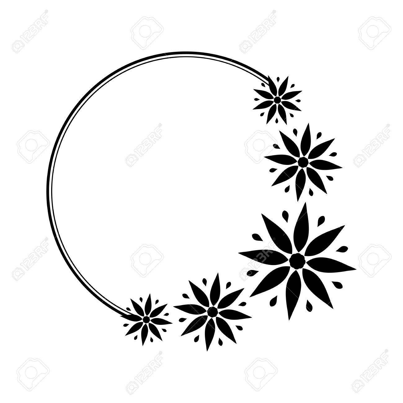 Round Black And White Frame With Stylized Flowers For The Design