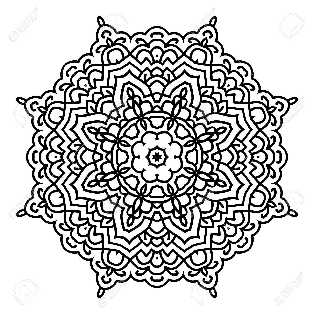 Mandala. Schwarze Und Weiße Dekorative Element. Bild Zum Ausmalen ...