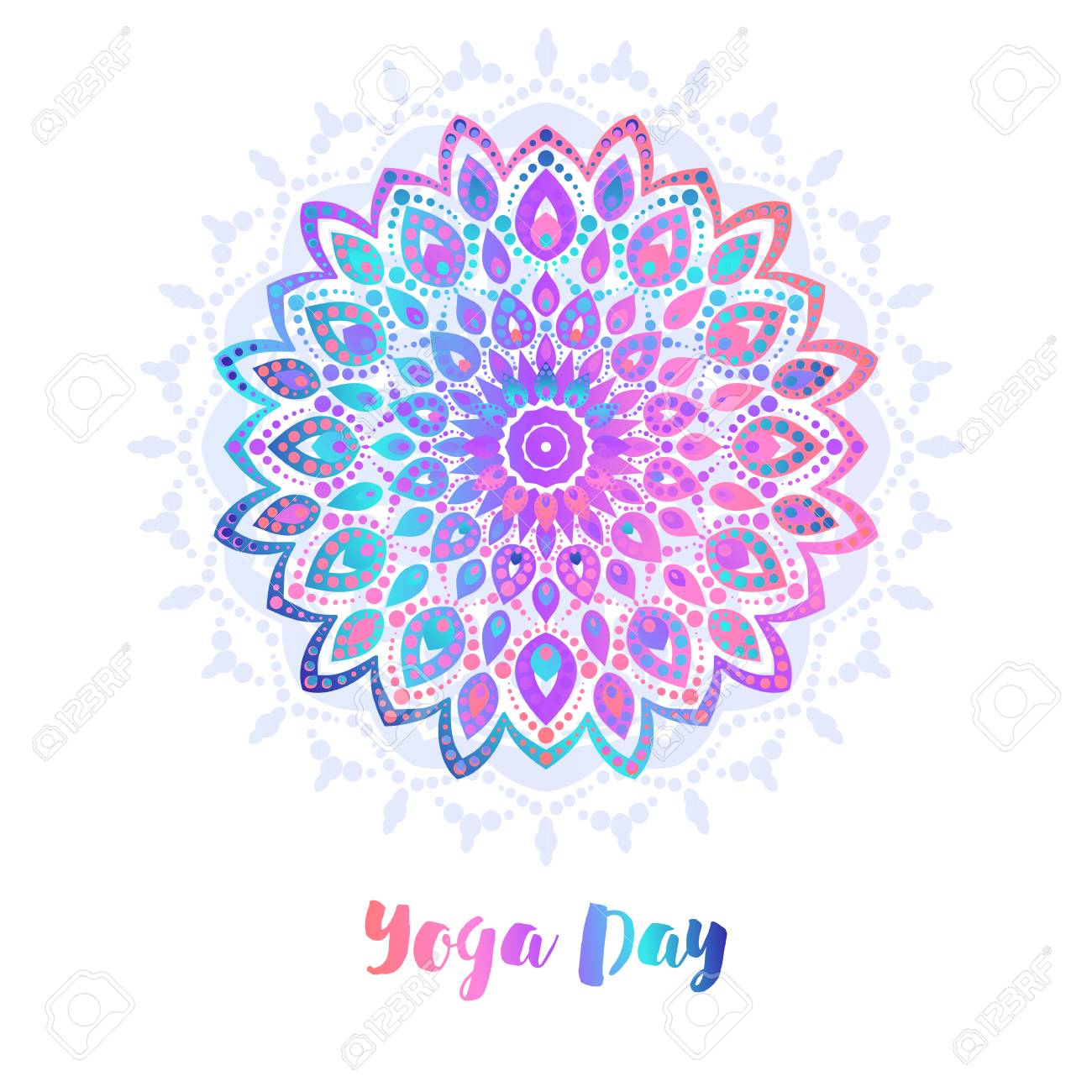 Yoga Bright Background Template With Mandala In Acid Color For Royalty Free Cliparts Vectors And Stock Illustration Image 101257360
