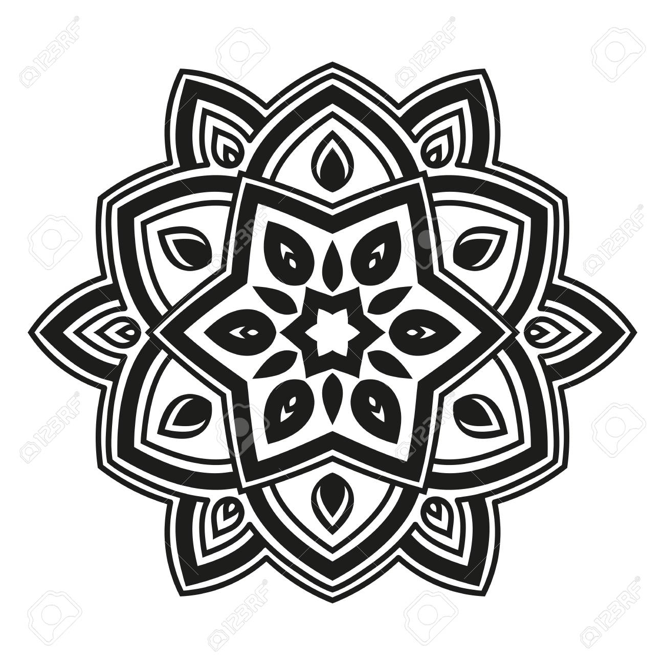 Arabesques Black And White Color. Template For Engraving, Embroidery ...