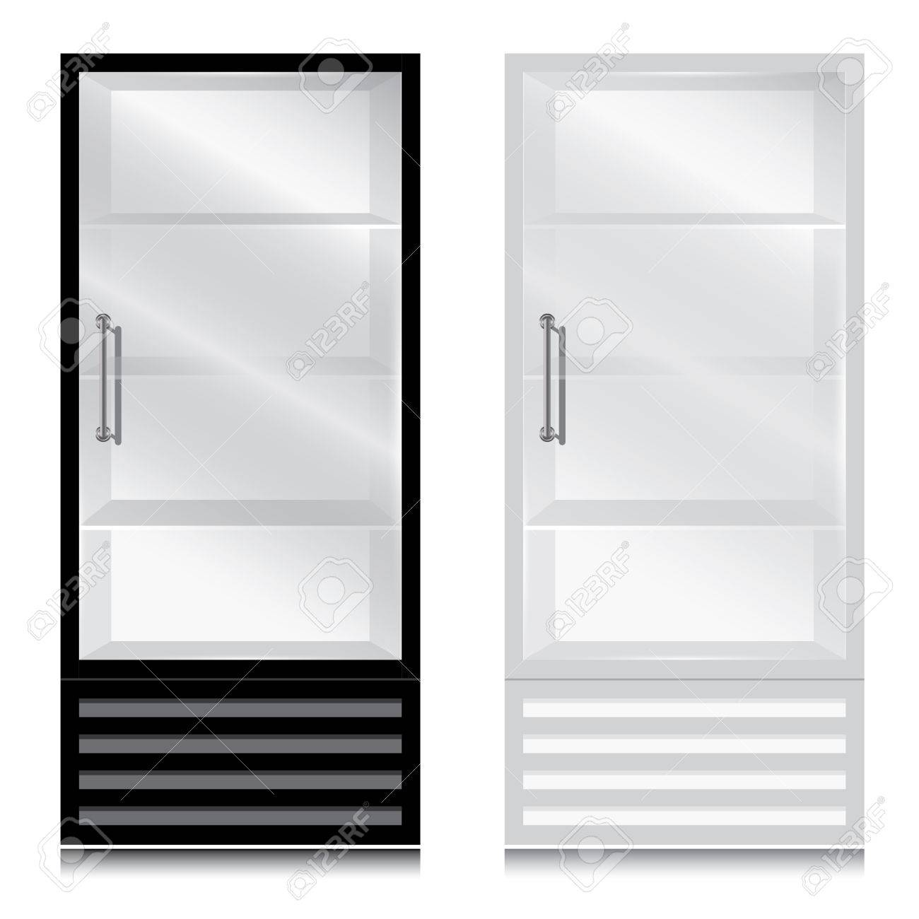Glass Door Fridge With Handle Open On The Right Black And