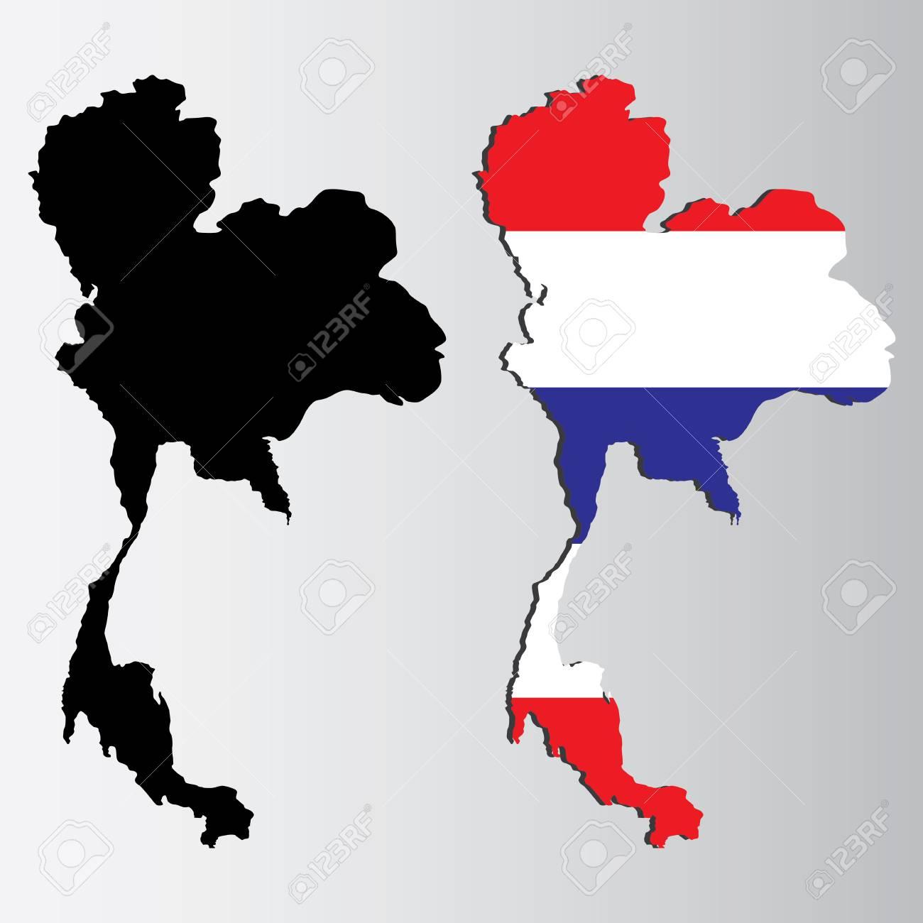 Carte Thailande Noir Et Blanc.Carte De La Thailande Dans Le Drapeau National Et Design Noir Sur Fond Blanc