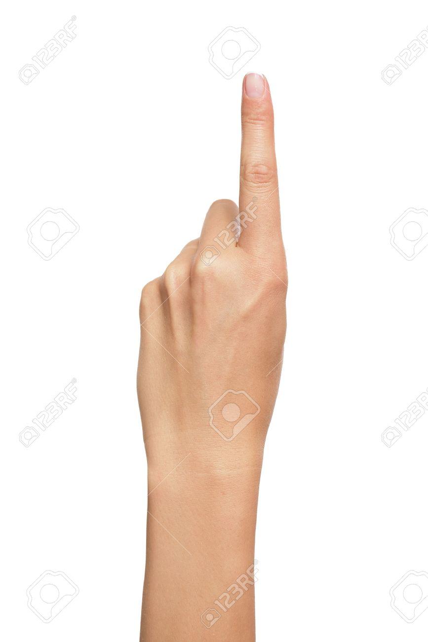 女性の手の人差し指またはボタン...