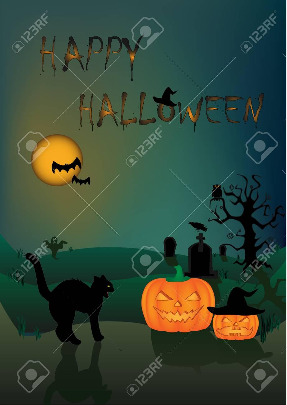 Zucca Halloween Gatto.Gatto Nero Arrabbiato Della Carta Di Halloween E Due Zucche Sui Precedenti Scuri Di Notte Verticali