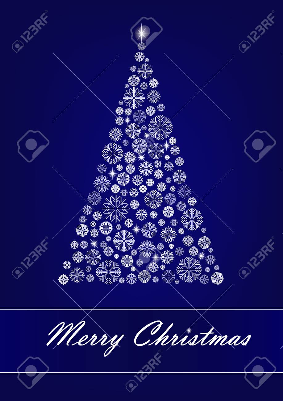 White Snowflake Christmas Tree On The Dark Blue Background Vertical