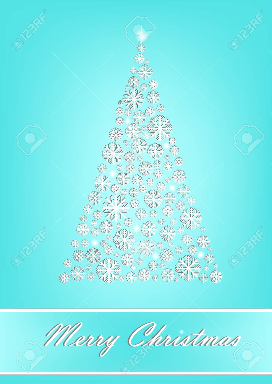 Beautiful White Snowflake Christmas Tree On The Turquoise Background Vertical Vector Illustration Stock