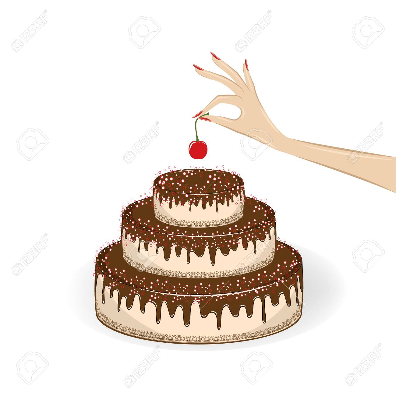 Womans Hand Puts A Cherry On Top Of A Cake Isolated On The White Royalty Free Cliparts Vectors And Stock Illustration Image 119846346
