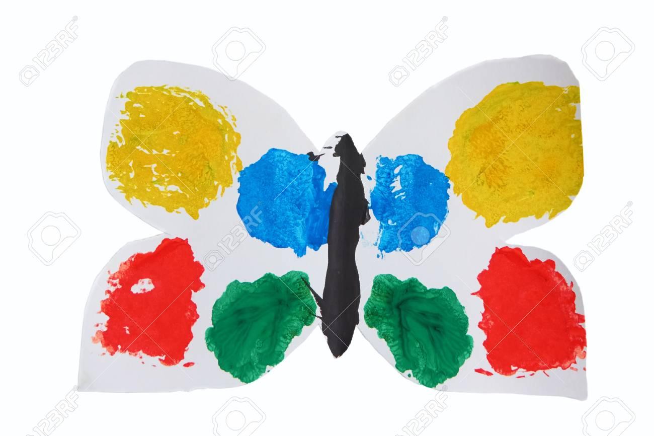 Immagini stock farfalla bianca di applique per bambini con le ali