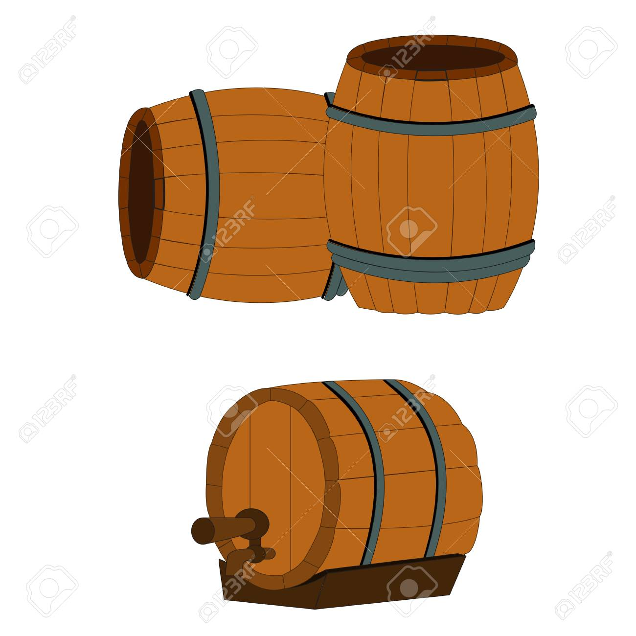 Wooden Barrels Round Wooden Barrel Royalty Free Cliparts Vectors And Stock Illustration Image 118968675
