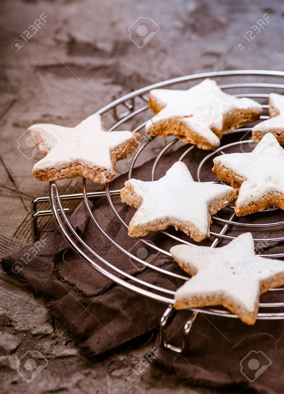 Christmas Cinnamon Star Cookies On Baking Wire Cooling Rack