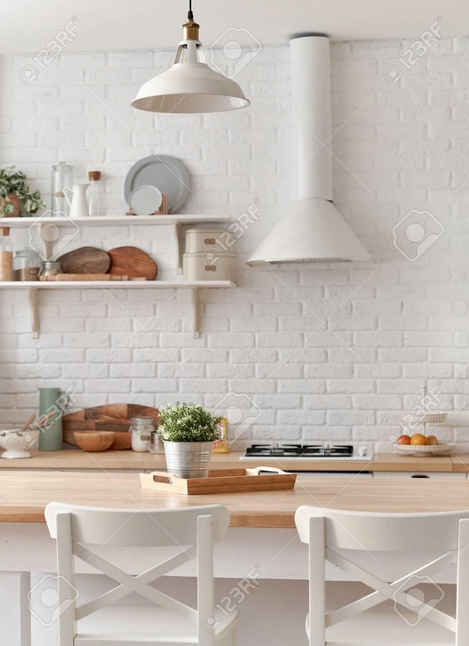 Kitchen table with kitchen chairs. Kitchen background.