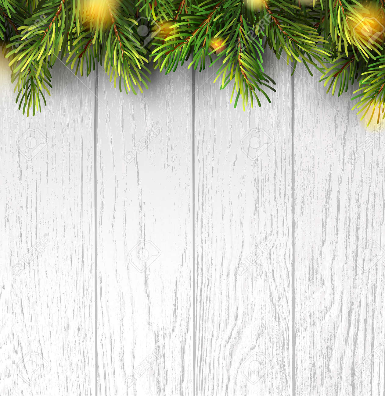 Christmas branches on white wooden board for banner design. Holiday banner with christmas lights for happy new year. Merry christmas. Holiday vector background. - 157427994