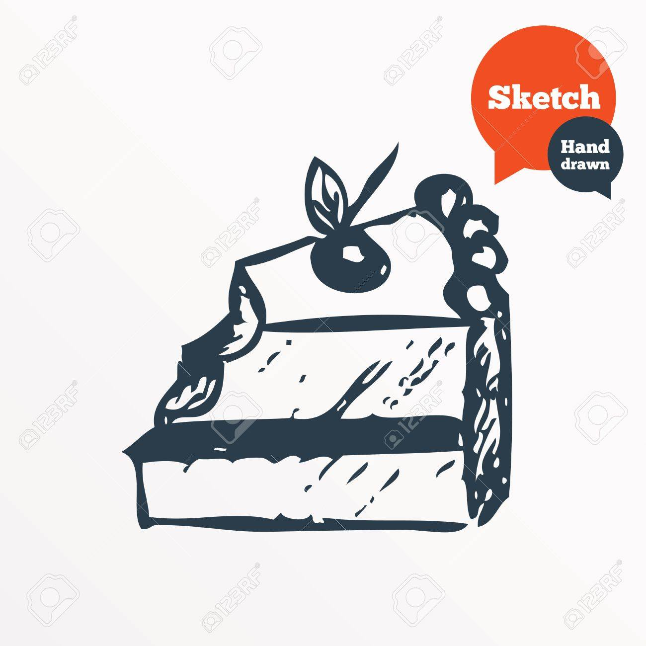 Hand Drawn Cake Sketched Bite Of Sweet Birthday Cake Vector