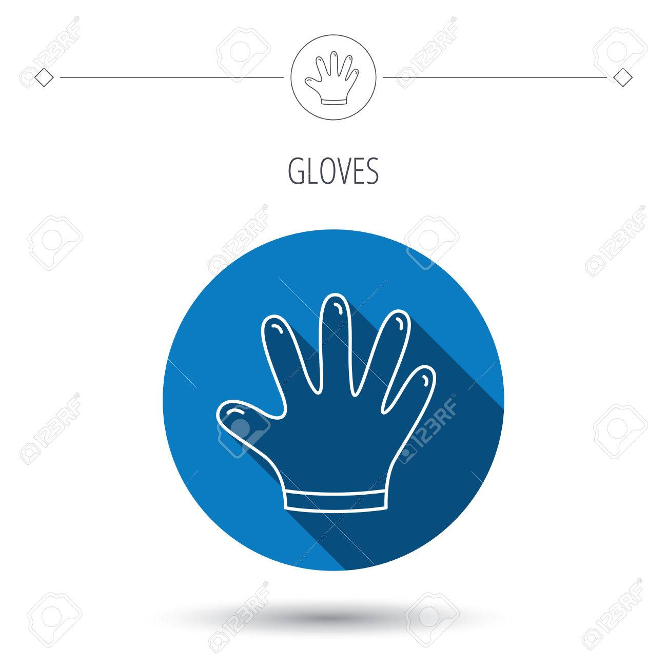 Rubber gloves icon latex hand protection sign housework cleaning vector rubber gloves icon latex hand protection sign housework cleaning equipment symbol blue flat biocorpaavc
