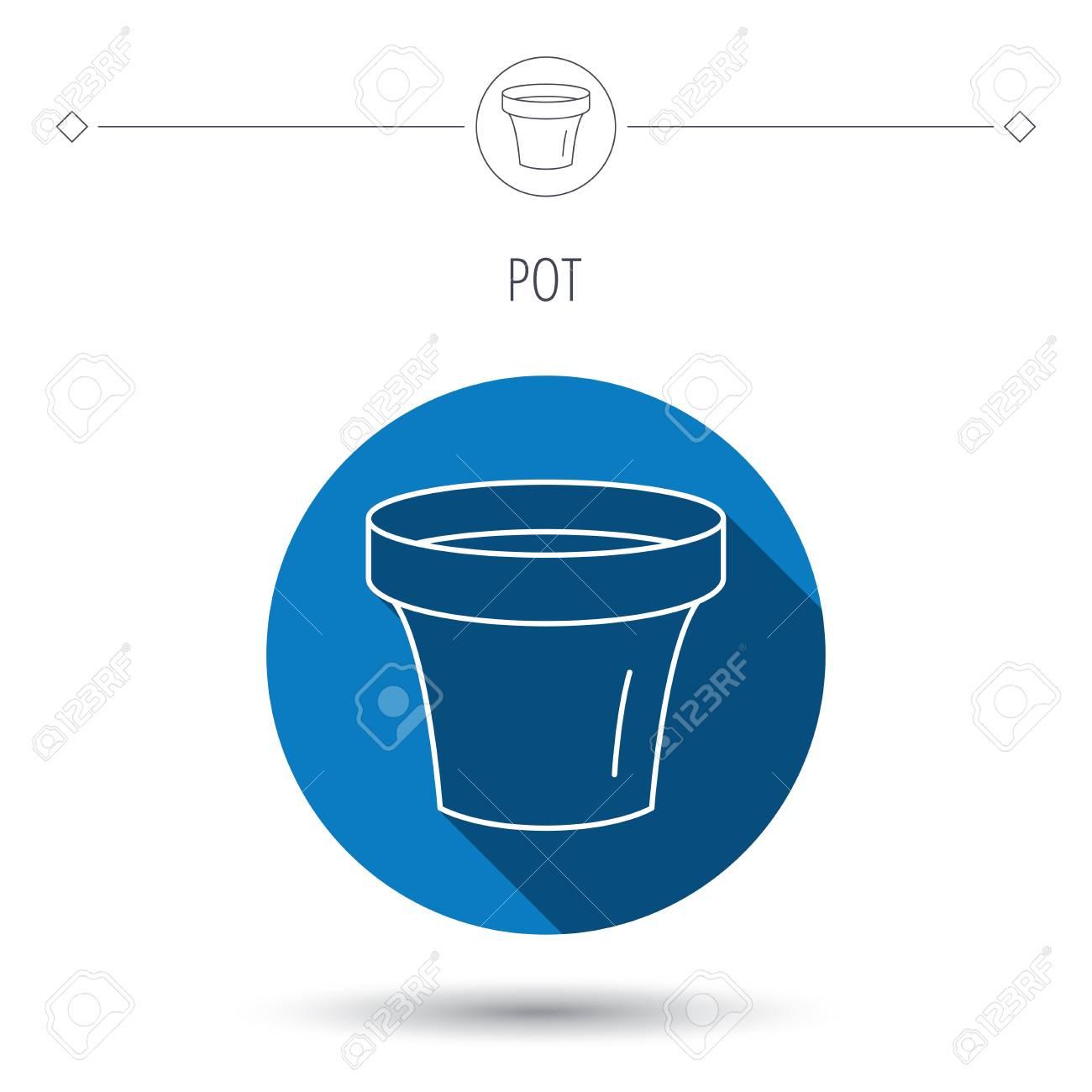 Pot De Fleur Icone Jardinage Signe Recipient En Ceramique Bleu