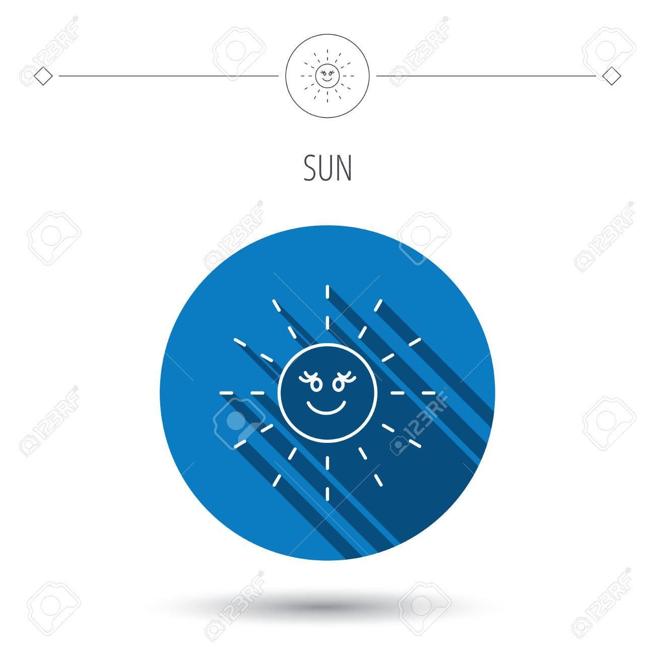 Sun Rays Icon Summer Sign Hot Weather Symbol Blue Flat Circle