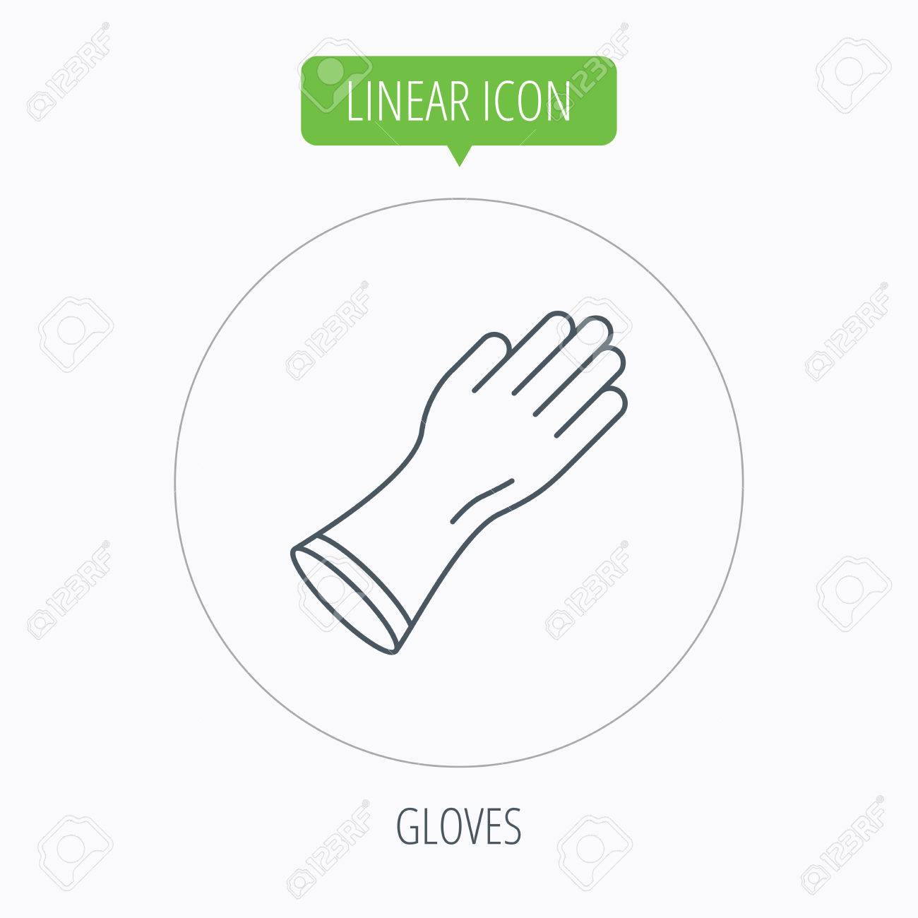 Rubber gloves icon latex hand protection sign housework cleaning vector rubber gloves icon latex hand protection sign housework cleaning equipment symbol linear outline biocorpaavc