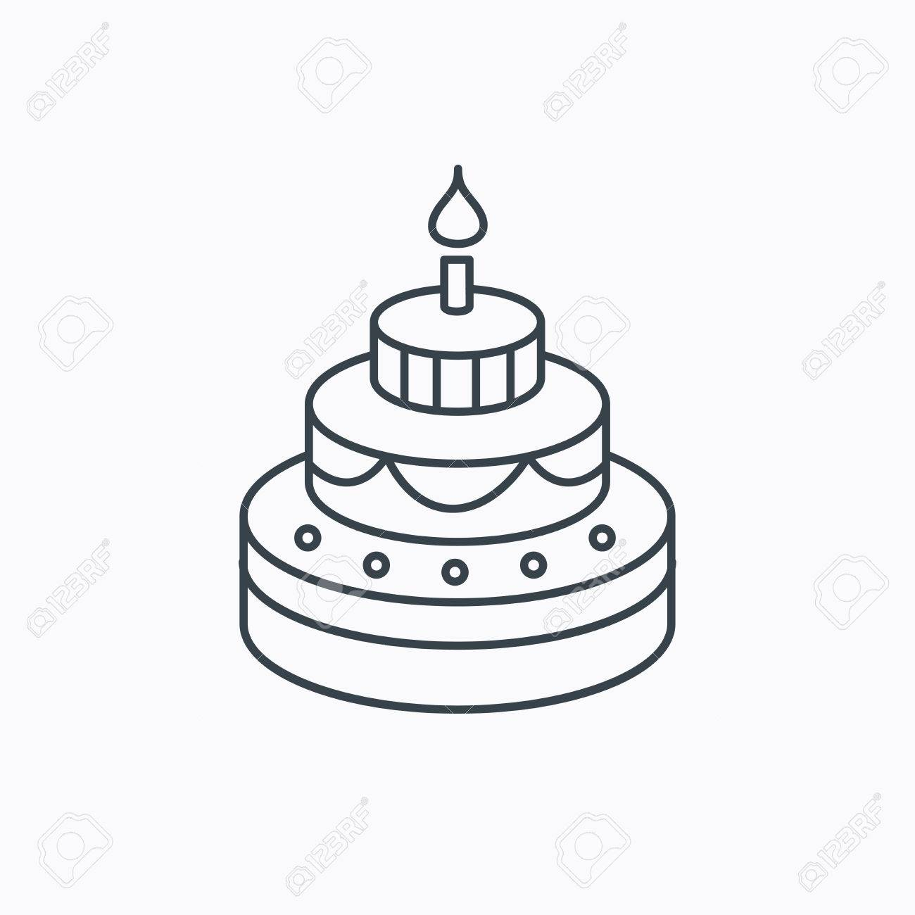 Cake Icon Birthday Delicious Dessert Sign Sweet Food With Candle