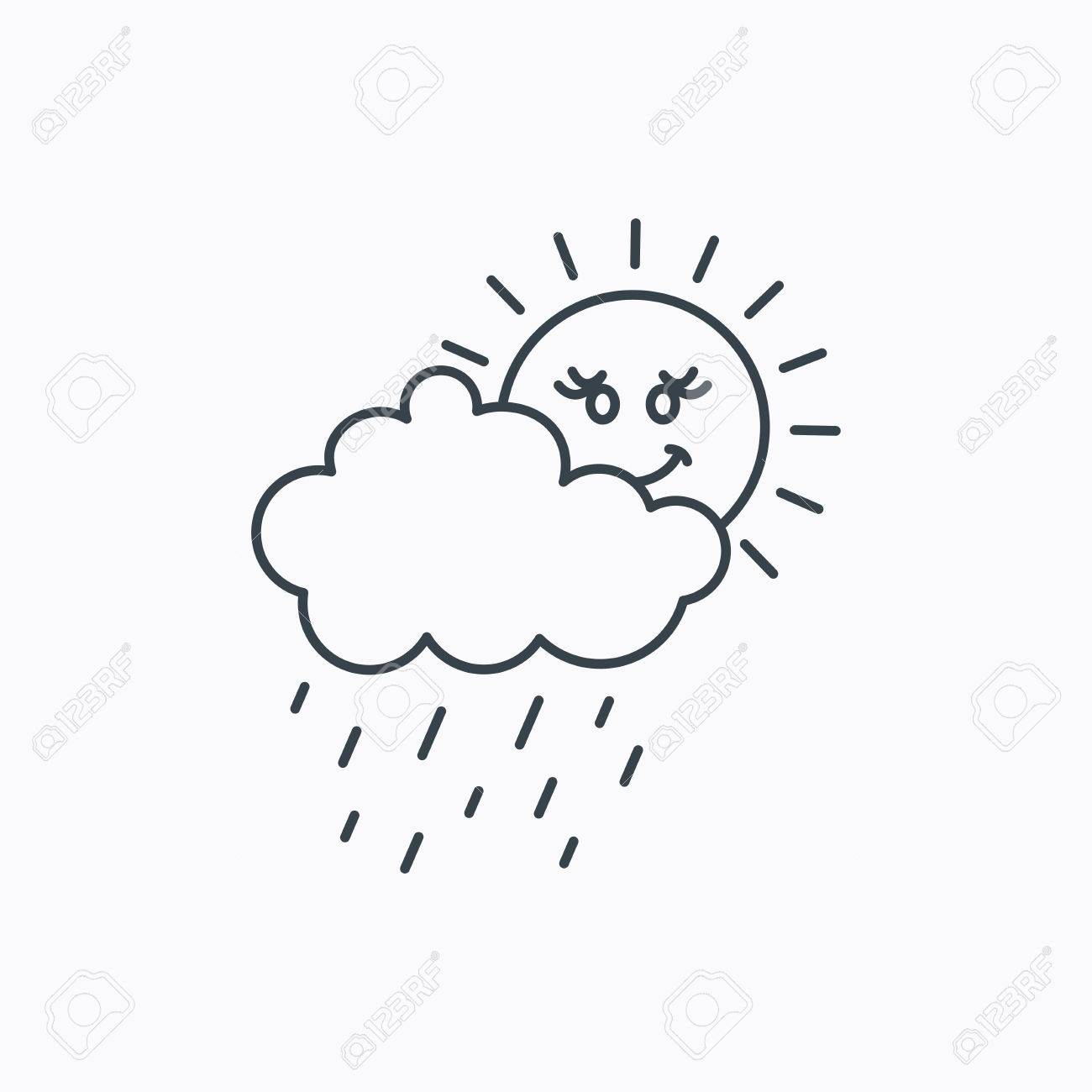 Rain and sun icon  Water drops and cloud sign  Rainy overcast