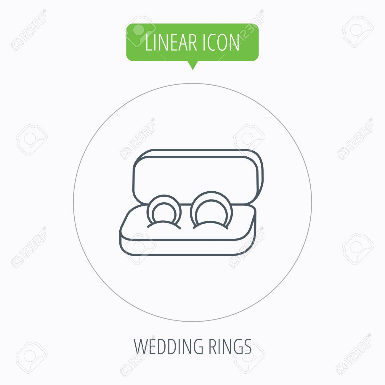 Wedding Rings Icon Jewelry Sign Marriage Symbol Linear Outline