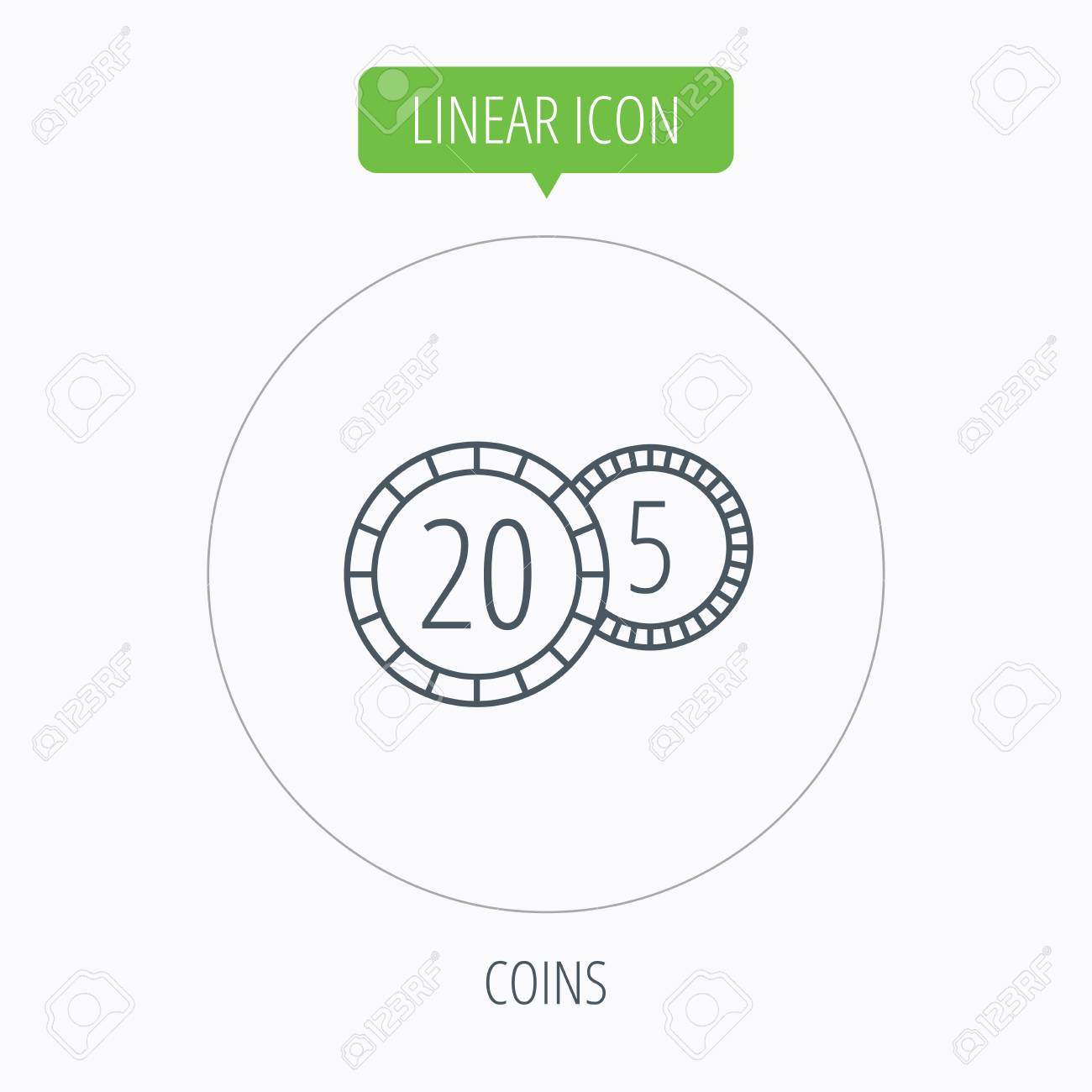 Coins Icon Cash Money Sign Bank Finance Symbol Twenty And