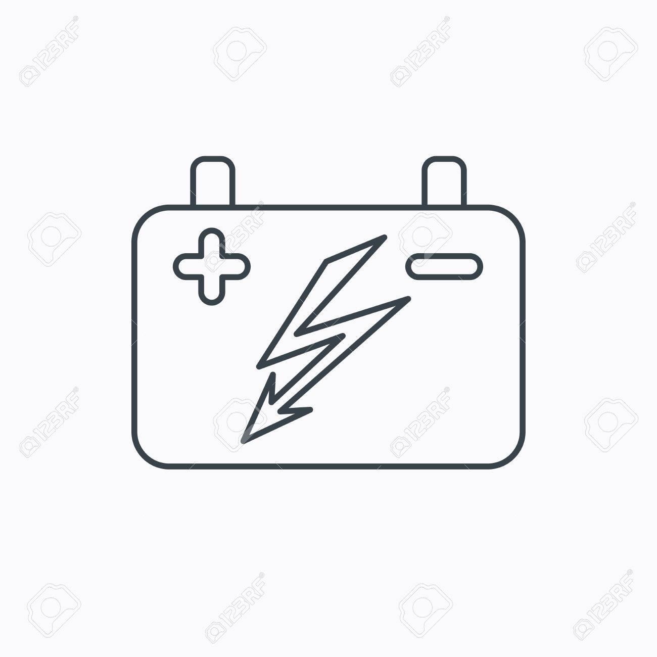 Akku-Symbol. Elektrische Batterie Zeichen. Linear Umriss-Symbol Auf ...
