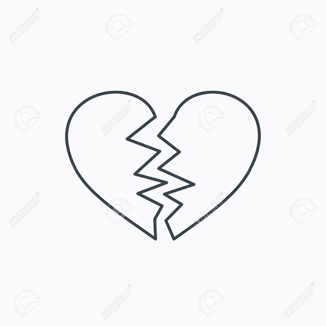 broken heart icon divorce sign end of love symbol linear