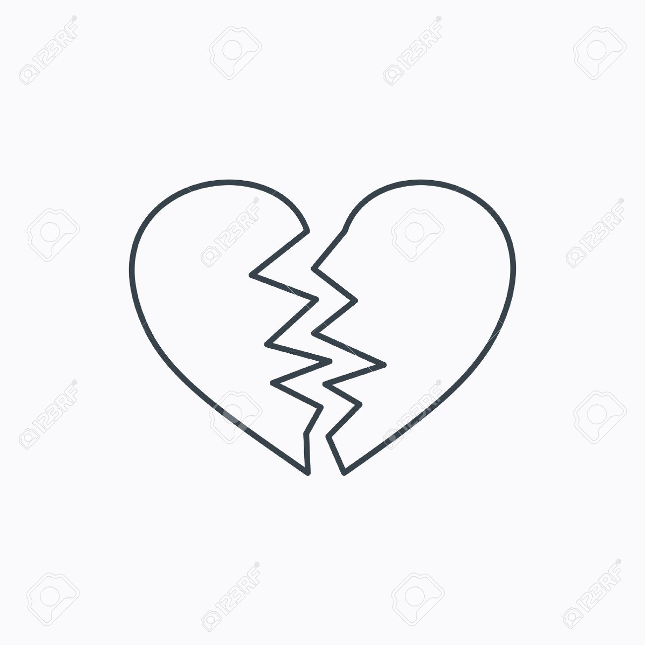 Broken heart icon divorce sign end of love symbol linear broken heart icon divorce sign end of love symbol linear outline icon on buycottarizona Image collections