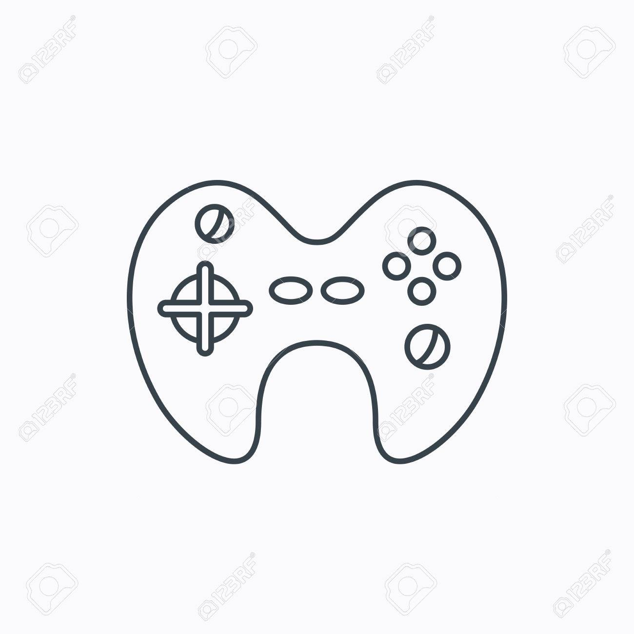 Joystick Icon Video Game Sign Linear Outline Icon On White - Video game outline