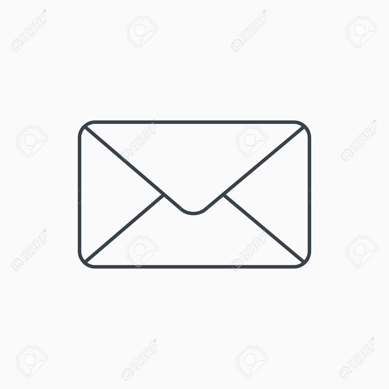 Email Letter Background Email message sign. Internet letter symbol. Linear outline icon on white background. Vector