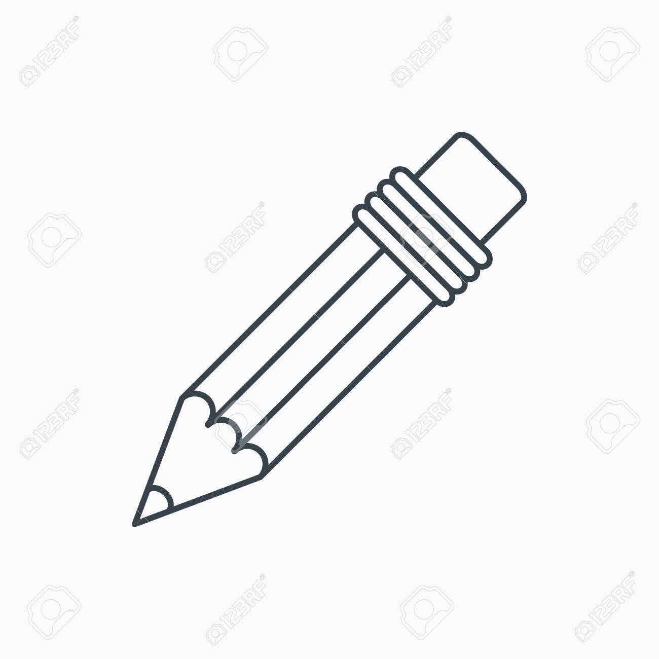Pencil Icon. Drawing Tool Sign. Linear Outline Icon On White ...
