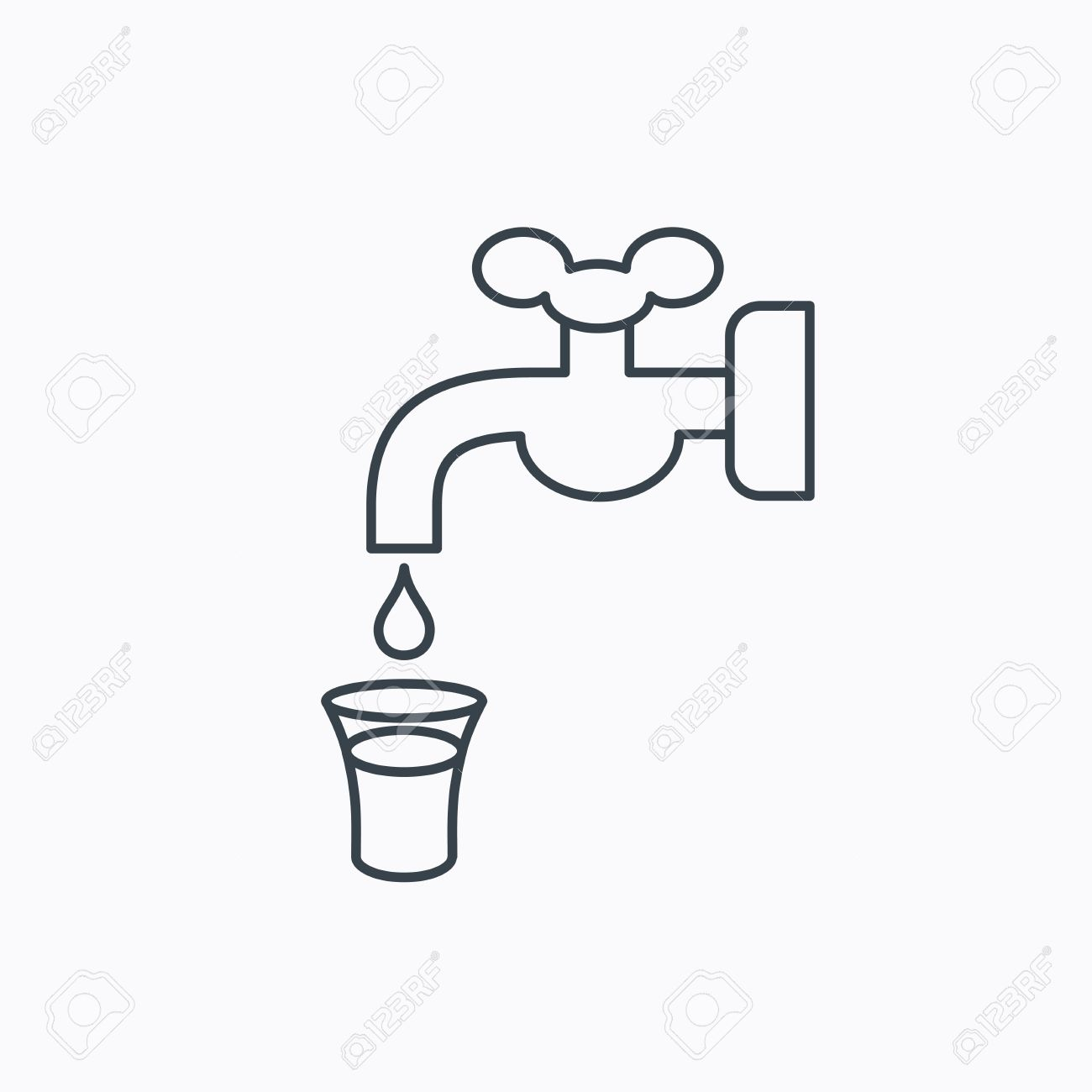 Save water icon crane or faucet with drop sign linear outline