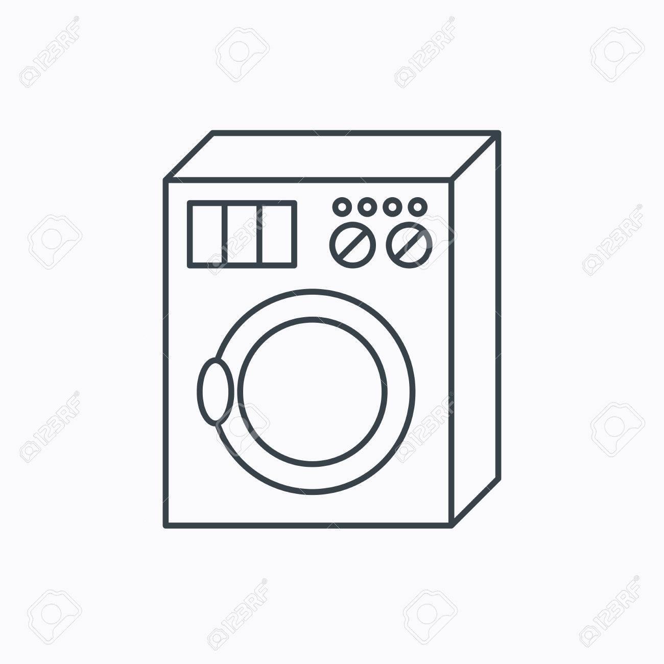 Waschmaschine Symbol Waschmaschine Zeichen Linear Umriss Symbol