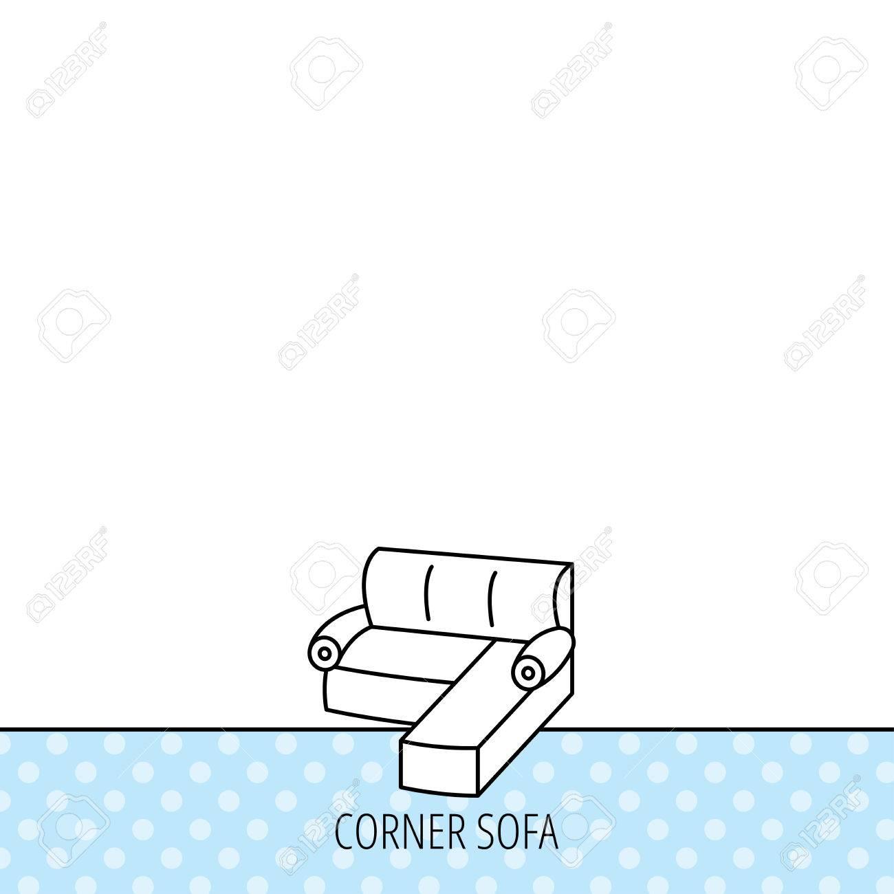 Corner Sofa Icon Comfortable Couch Sign Furniture Symbol Circles